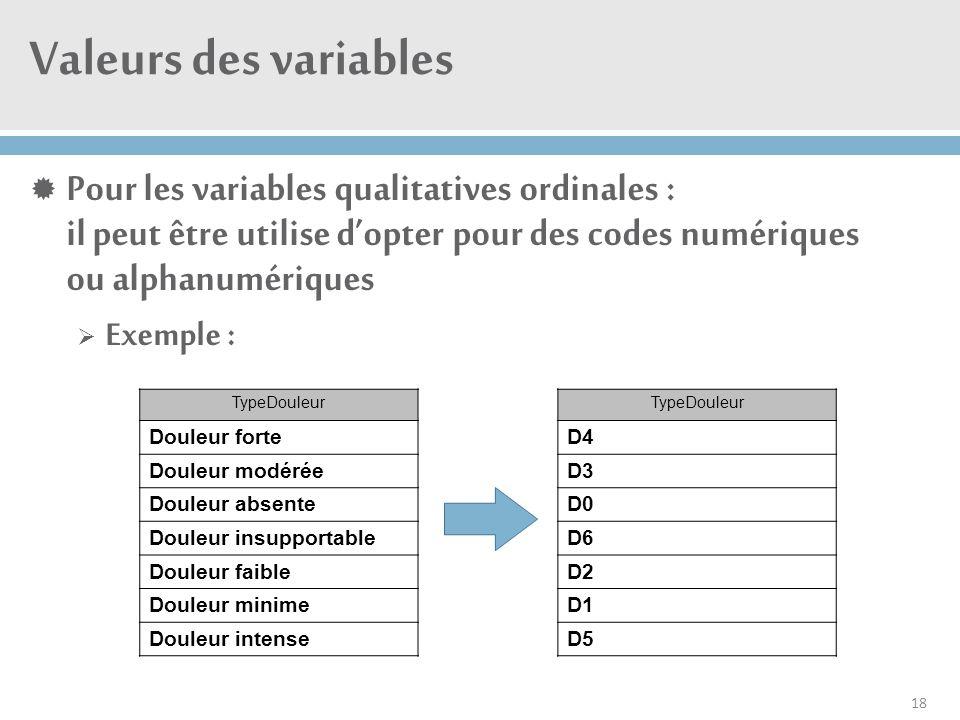 Valeurs des variables  Pour les variables qualitatives ordinales : il peut être utilise d'opter pour des codes numériques ou alphanumériques  Exempl