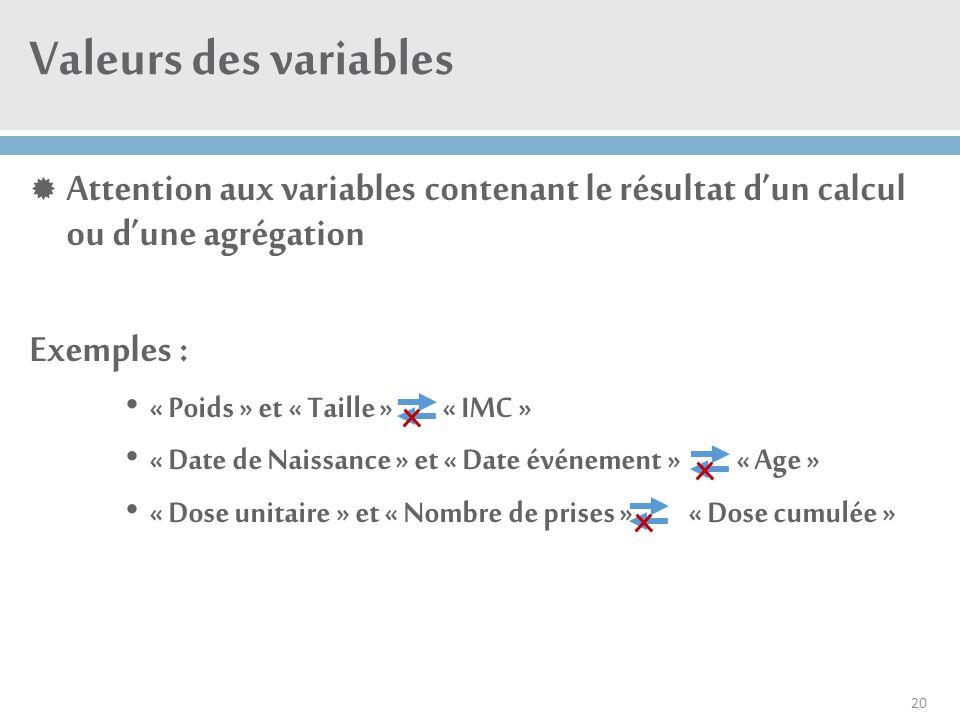 Valeurs des variables  Attention aux variables contenant le résultat d'un calcul ou d'une agrégation Exemples : « Poids » et « Taille » « IMC » « Dat