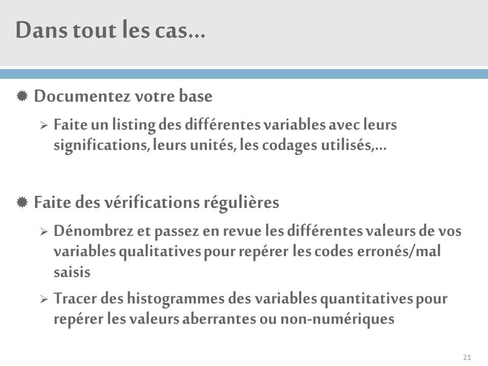Dans tout les cas…  Documentez votre base  Faite un listing des différentes variables avec leurs significations, leurs unités, les codages utilisés,