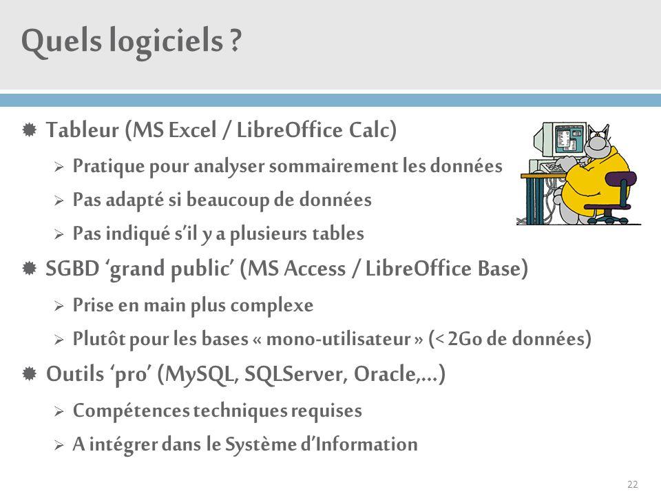 Quels logiciels ?  Tableur (MS Excel / LibreOffice Calc)  Pratique pour analyser sommairement les données  Pas adapté si beaucoup de données  Pas