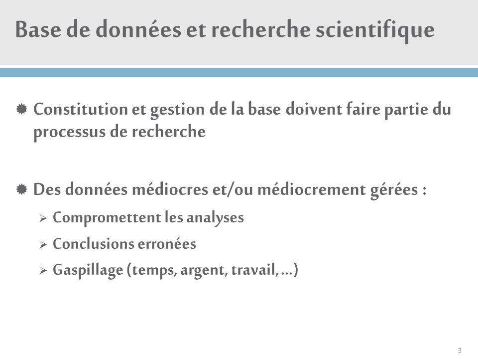 Base de données et recherche scientifique  Constitution et gestion de la base doivent faire partie du processus de recherche  Des données médiocres