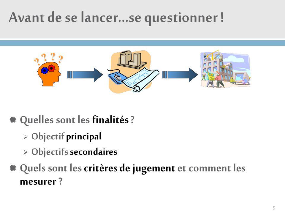 Avant de se lancer…se questionner !  Quelles sont les finalités ?  Objectif principal  Objectifs secondaires  Quels sont les critères de jugement