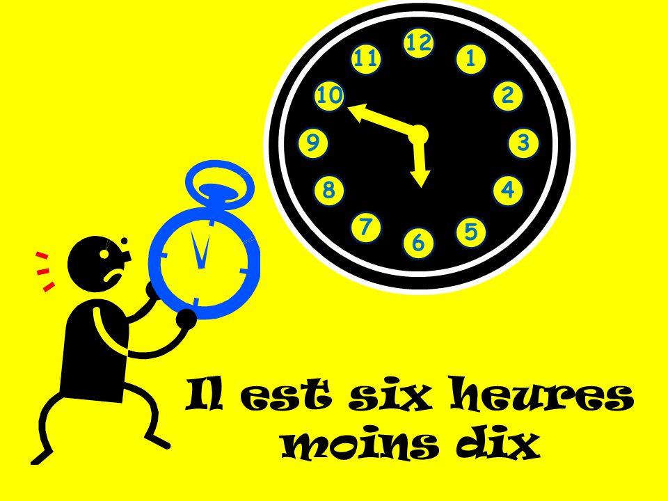 1 2 3 4 5 6 7 8 9 10 11 12 Il est six heures moins dix
