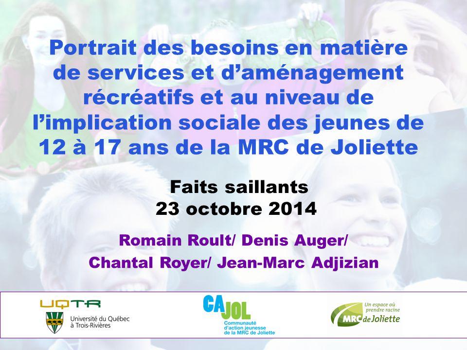 Portrait des besoins en matière de services et d'aménagement récréatifs et au niveau de l'implication sociale des jeunes de 12 à 17 ans de la MRC de J