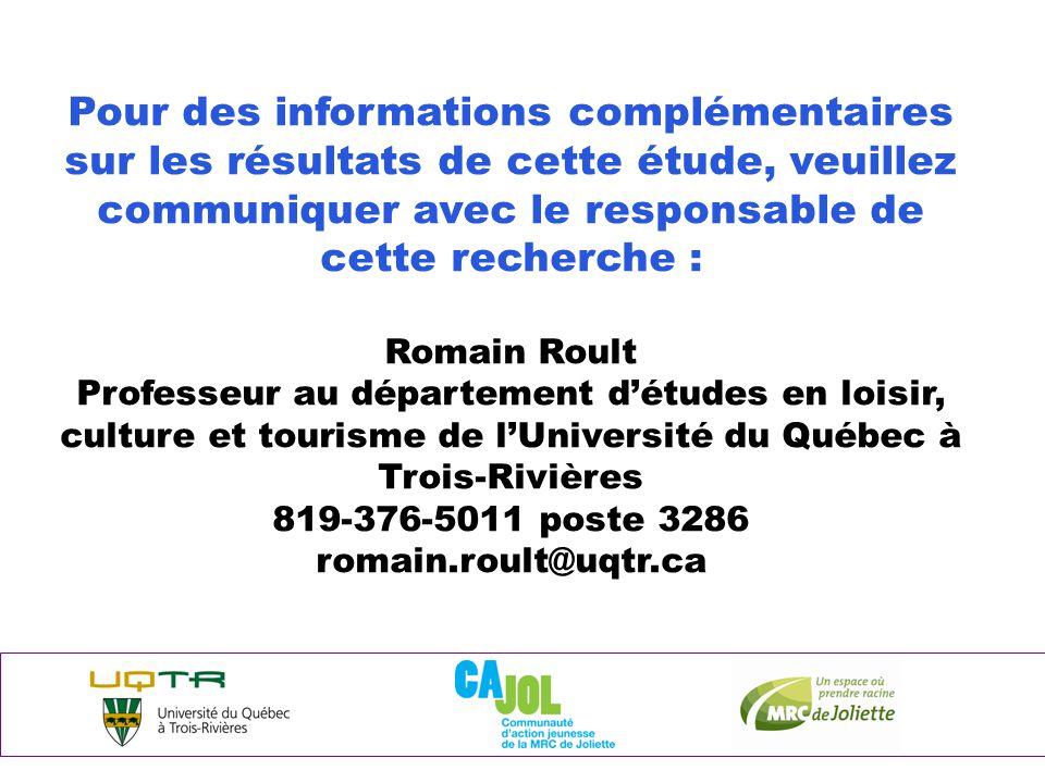 Pour des informations complémentaires sur les résultats de cette étude, veuillez communiquer avec le responsable de cette recherche : Romain Roult Professeur au département d'études en loisir, culture et tourisme de l'Université du Québec à Trois-Rivières 819-376-5011 poste 3286 romain.roult@uqtr.ca