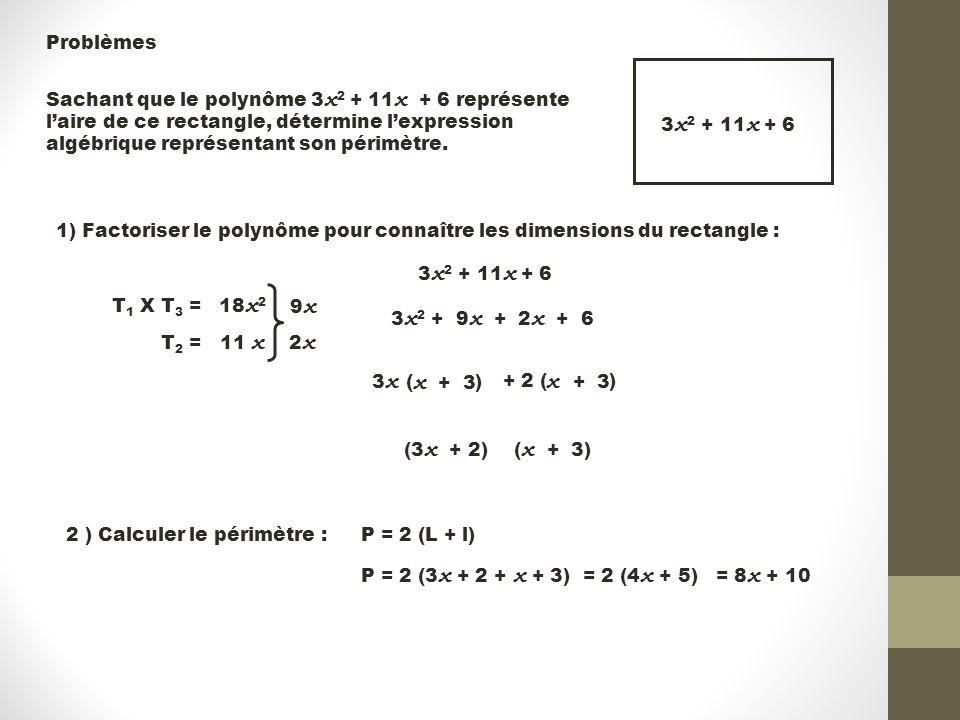 Problèmes 3 x 2 + 11 x + 6 Sachant que le polynôme 3 x 2 + 11 x + 6 représente l'aire de ce rectangle, détermine l'expression algébrique représentant son périmètre.