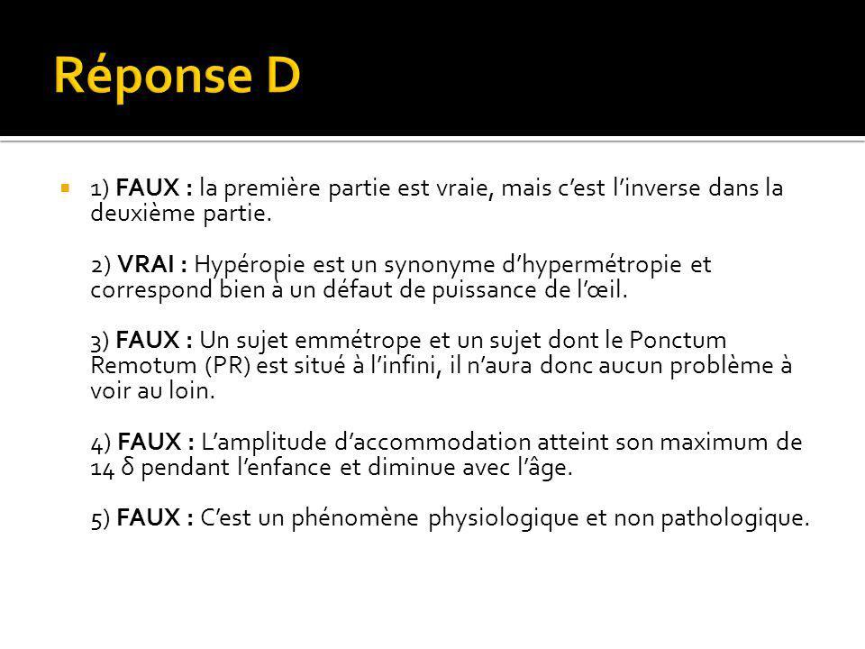  1) FAUX : la première partie est vraie, mais c'est l'inverse dans la deuxième partie. 2) VRAI : Hypéropie est un synonyme d'hypermétropie et corresp
