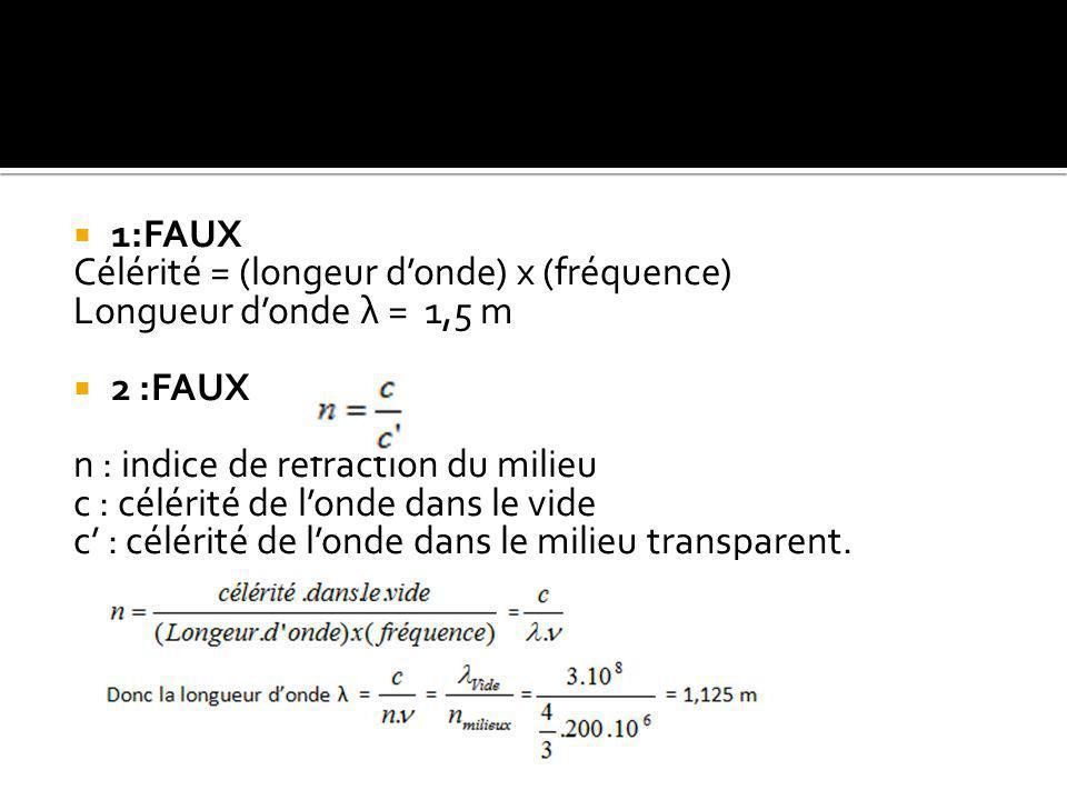  1:FAUX Célérité = (longeur d'onde) x (fréquence) Longueur d'onde λ = 1,5 m  2 :FAUX n : indice de réfraction du milieu c : célérité de l'onde dans le vide c' : célérité de l'onde dans le milieu transparent.