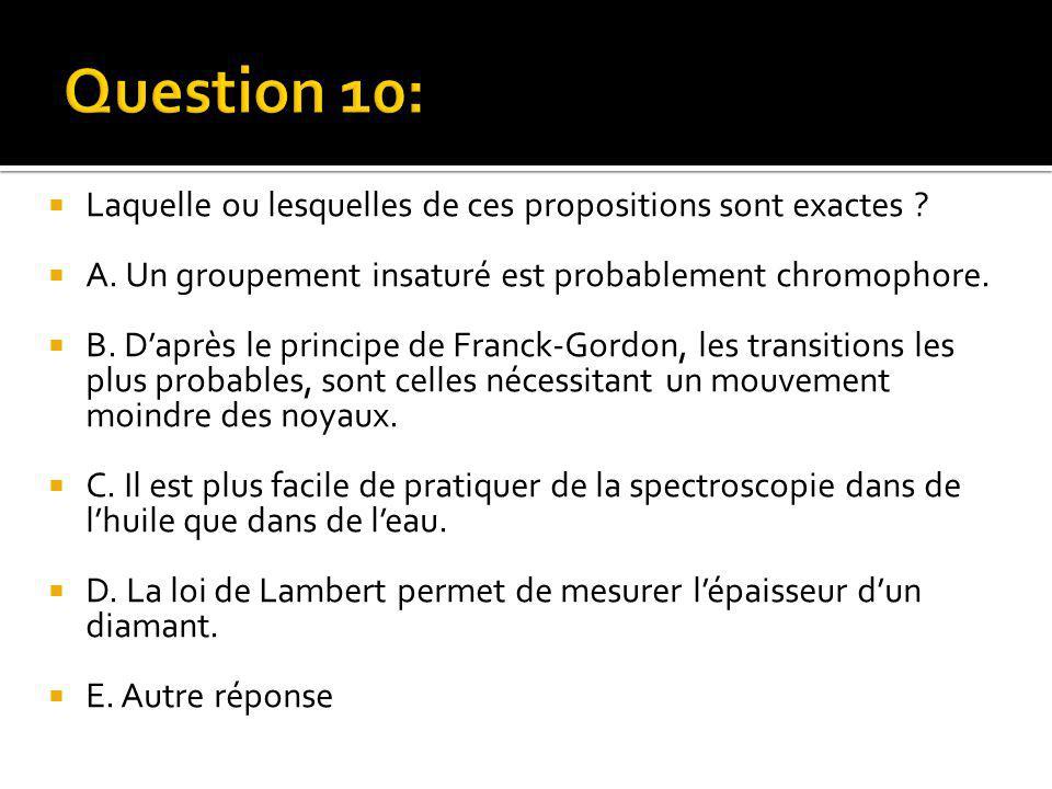  Laquelle ou lesquelles de ces propositions sont exactes ?  A. Un groupement insaturé est probablement chromophore.  B. D'après le principe de Fran
