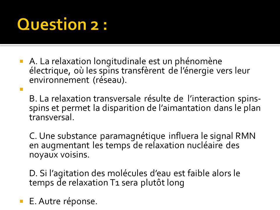  A. La relaxation longitudinale est un phénomène électrique, où les spins transfèrent de l'énergie vers leur environnement (réseau).  B. La relaxati
