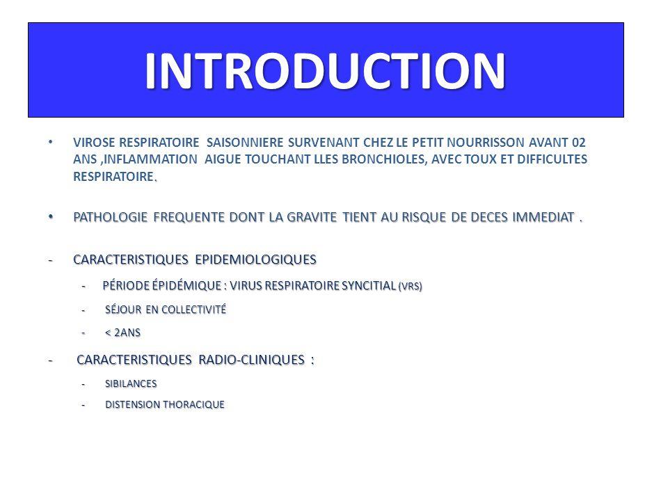 EVALUATION CLINIQUE (1) SCORE DE BIERMAN et PIERSON SCORE F.R / mn WHEEZINGCYANOSETIRAGE 0  30 Absent Absente Absent 1 31 – 45 Au sthéto en Fin d'expiration Péribuccale au cri Faible ou x 2 46 – 60 Au sthéto en Inspir et Expir Péribuccale au repos Important ou xx 3  60 Inspiratoire et expiratoire à dist Généralisée au repos Intense ou xxx