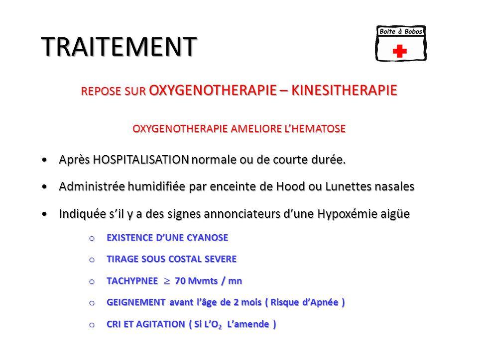 TRAITEMENT KINESITHERAPIE : ESSENTIELLE APRES 48 H Indiquée en raison de l'encombrement bronchique : 2 Phénomènes : - Desquamation épithéliale et accumulation des cellules nécrosées.