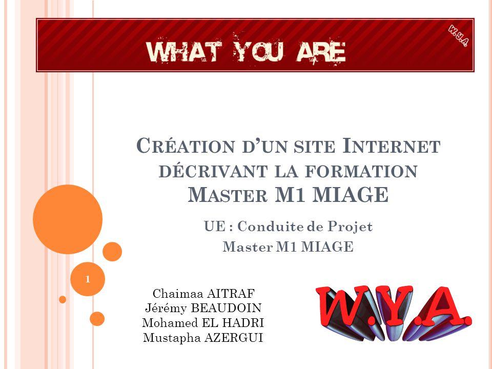 INTRODUCTION Le groupe projet « What You Are » a pour but de présenter un site décrivant la formation Master M1 MIAGE.