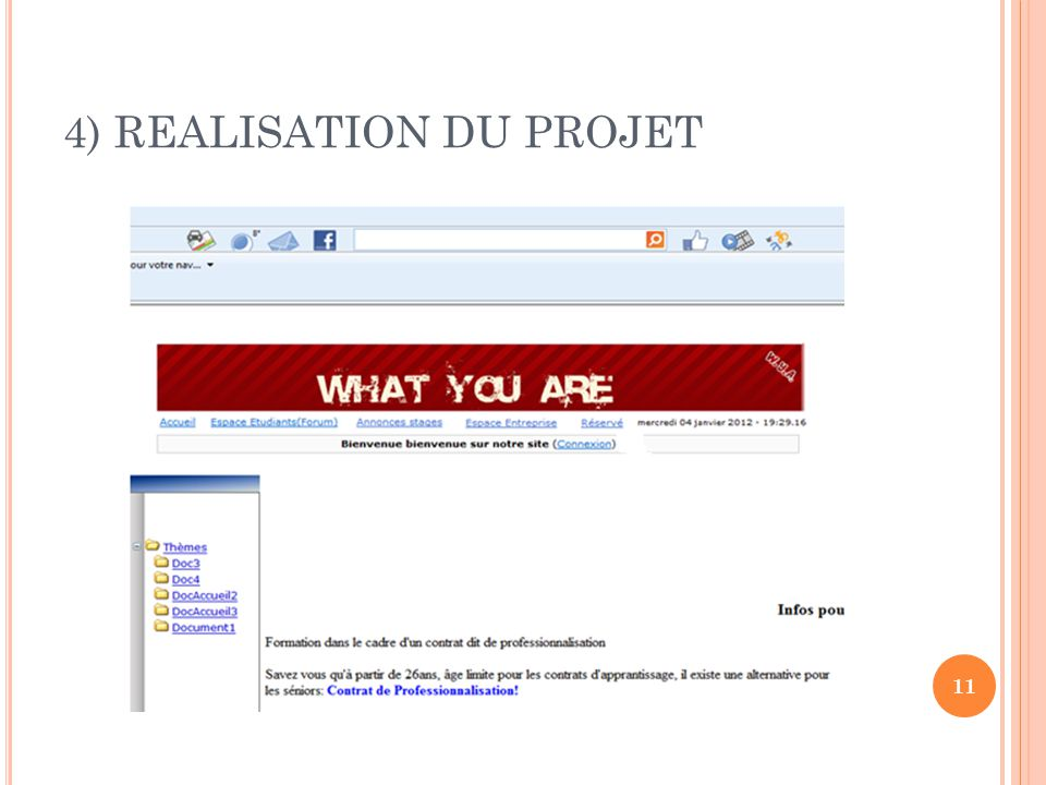 4) REALISATION DU PROJET 11