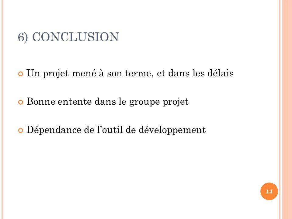 6) CONCLUSION Un projet mené à son terme, et dans les délais Bonne entente dans le groupe projet Dépendance de l'outil de développement 14