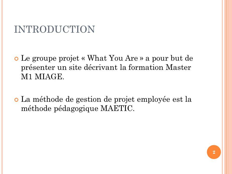 INTRODUCTION Le groupe projet « What You Are » a pour but de présenter un site décrivant la formation Master M1 MIAGE. La méthode de gestion de projet
