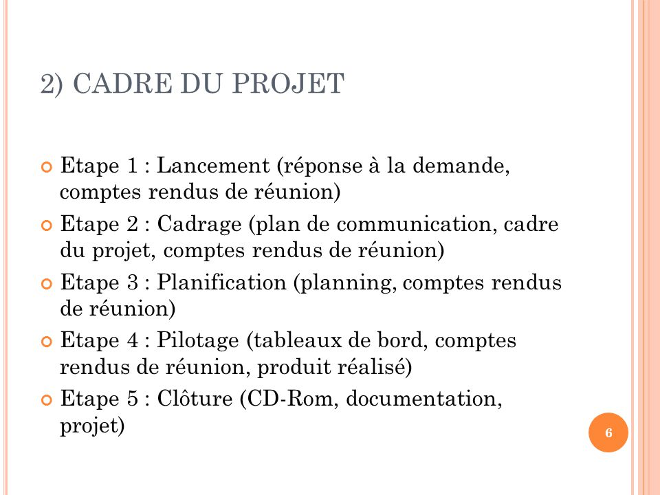2) CADRE DU PROJET Etape 1 : Lancement (réponse à la demande, comptes rendus de réunion) Etape 2 : Cadrage (plan de communication, cadre du projet, co