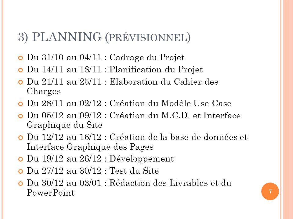 3) PLANNING ( RÉEL ) Du 31/10 au 04/11 : Cadrage du Projet Du 14/11 au 18/11 : Planification du Projet Du 28/11 au 02/12 : Elaboration du Cahier des Charges, Création du Modèle Use Case et du M.C.D., Création de la base de données Du 12/12 au 16/12 : Interface Graphique du Site et Interface Graphique des Pages Du 19/12 au 30/12 : Développement Du 31/12 au 03/12 : Test du Site Du 03/12 au 05/01 : Rédaction des Livrables et du PowerPoint 8