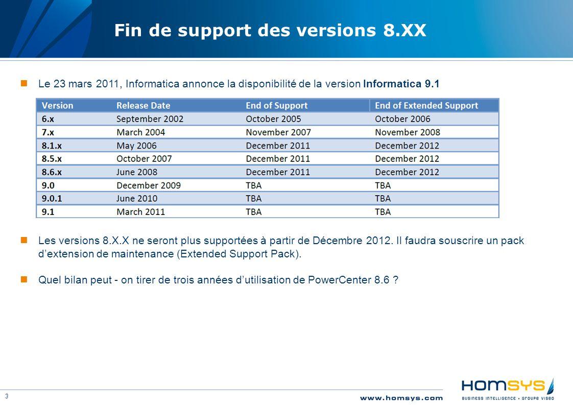 3 Fin de support des versions 8.XX Le 23 mars 2011, Informatica annonce la disponibilité de la version Informatica 9.1 Les versions 8.X.X ne seront pl