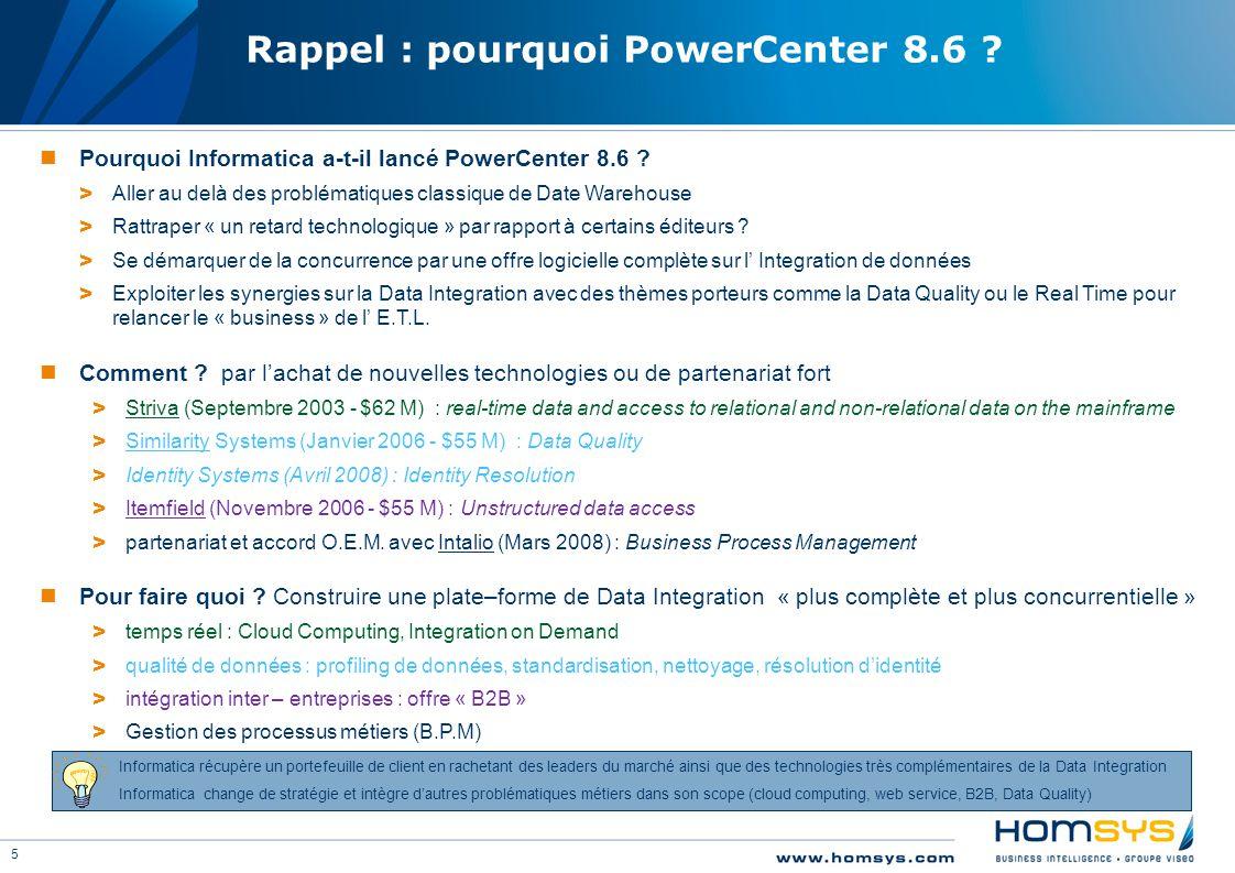 5 Rappel : pourquoi PowerCenter 8.6 ? Pourquoi Informatica a-t-il lancé PowerCenter 8.6 ? > Aller au delà des problématiques classique de Date Warehou