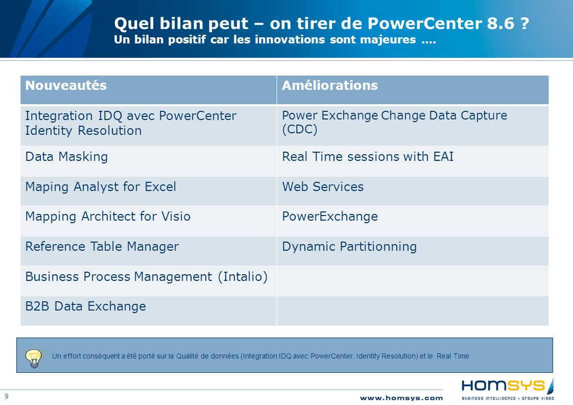 9 Quel bilan peut – on tirer de PowerCenter 8.6 .