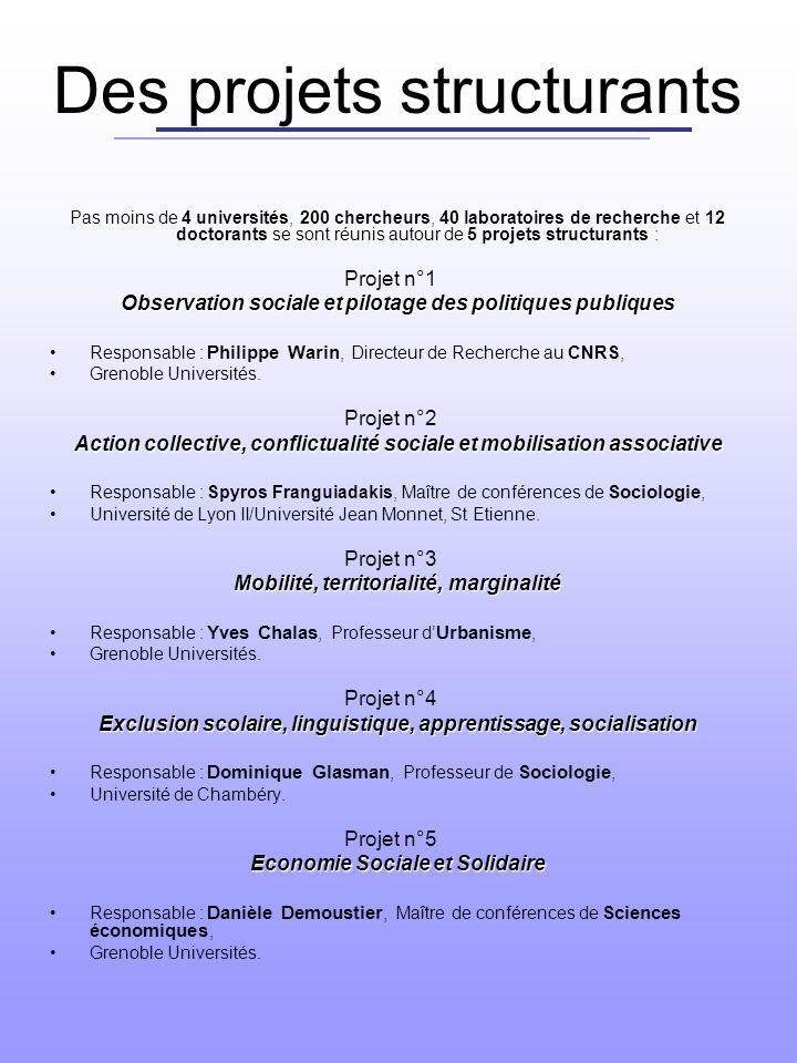 Des projets structurants Pas moins de 4 universités, 200 chercheurs, 40 laboratoires de recherche et 12 doctorants se sont réunis autour de 5 projets structurants : Projet n°1 Observation sociale et pilotage des politiques publiques Responsable : Philippe Warin, Directeur de Recherche au CNRS, Grenoble Universités.