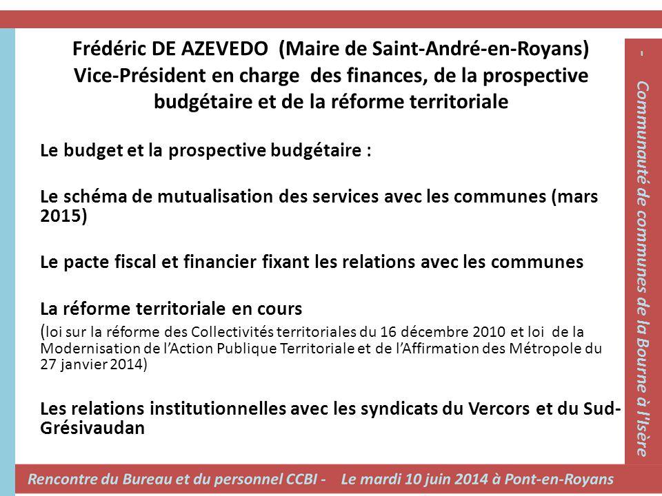 Frédéric DE AZEVEDO (Maire de Saint-André-en-Royans) Vice-Président en charge des finances, de la prospective budgétaire et de la réforme territoriale