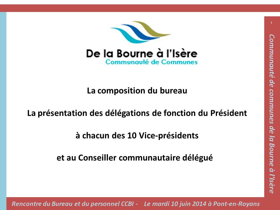 La composition du bureau La présentation des délégations de fonction du Président à chacun des 10 Vice-présidents et au Conseiller communautaire délég