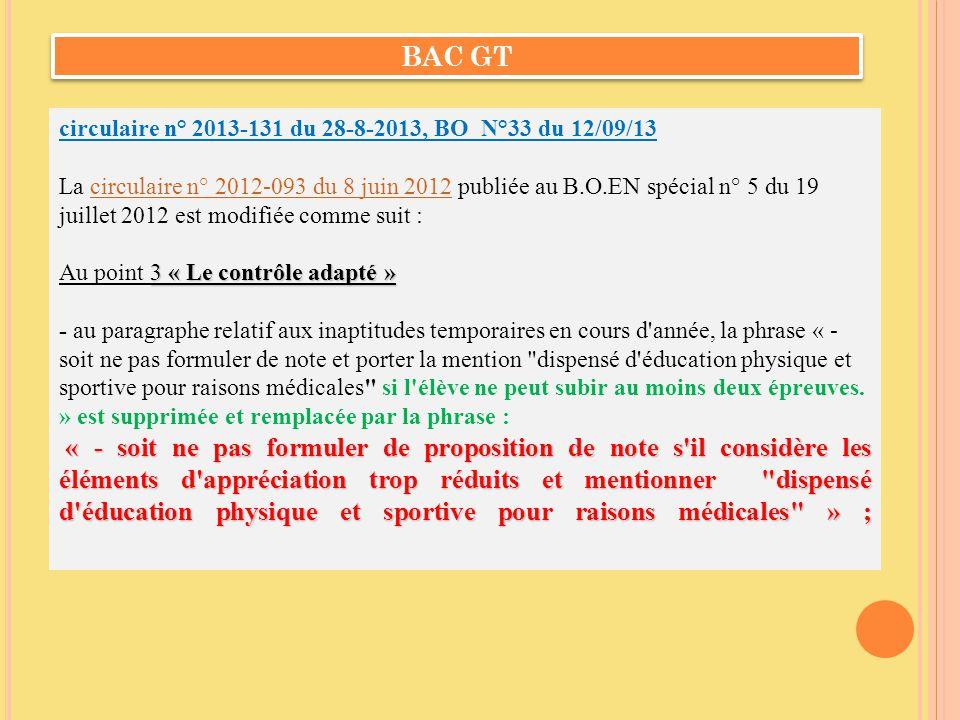 circulaire n° 2013-131 du 28-8-2013, BO N°33 du 12/09/13 La circulaire n° 2012-093 du 8 juin 2012 publiée au B.O.EN spécial n° 5 du 19 juillet 2012 es