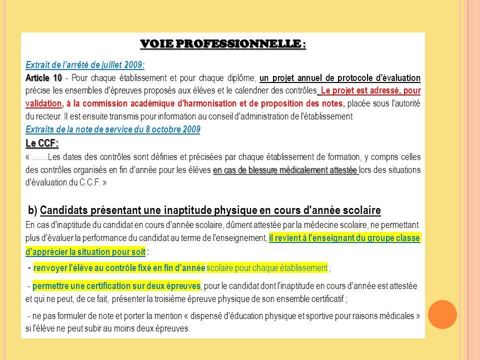 VOIE PROFESSIONNELLE : Extrait de l'arrêté de juillet 2009: Article 10 Article 10 - Pour chaque établissement et pour chaque diplôme, un projet annuel
