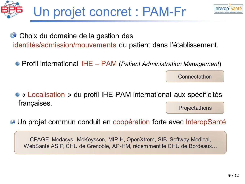 9 / 12 Choix du domaine de la gestion des identités/admission/mouvements du patient dans l'établissement.