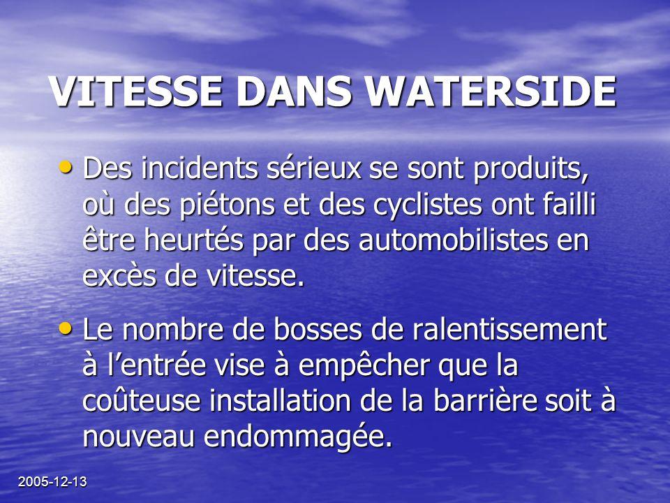 2005-12-13 VITESSE DANS WATERSIDE Des incidents sérieux se sont produits, où des piétons et des cyclistes ont failli être heurtés par des automobilist