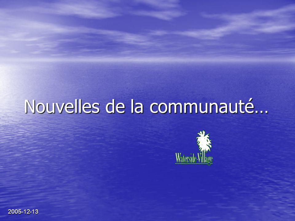 2005-12-13 Nouvelles de la communauté…