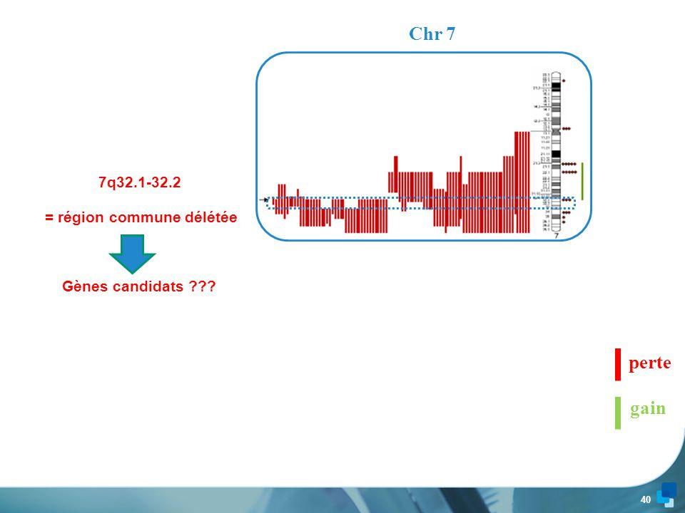39 Chr 3 perte gain 3q25  3q29 = région commune surreprésentée