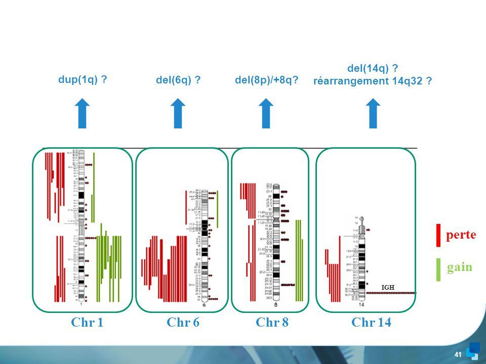 40 Chr 7 perte gain 7q32.1-32.2 = région commune délétée Gènes candidats ???