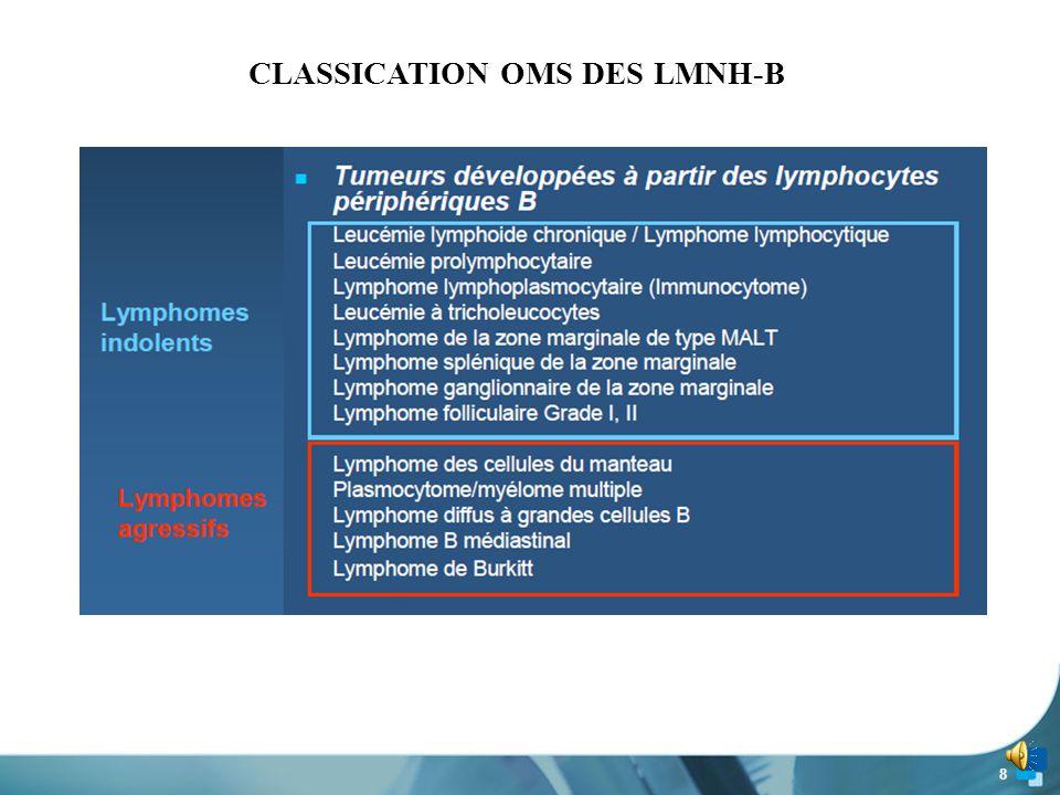 7 Pour les scores de MATUTES ≤ à 3  Etude CYTOLOGIQUE : indispensable ex : Lymphocytes clivés et Lymphome folliculaire  Etude CYTOGENETIQUE : peut permettre de préciser le DIAGNOSTIC et le PRONOSTIC du lymphome malin non hodgkinien B.