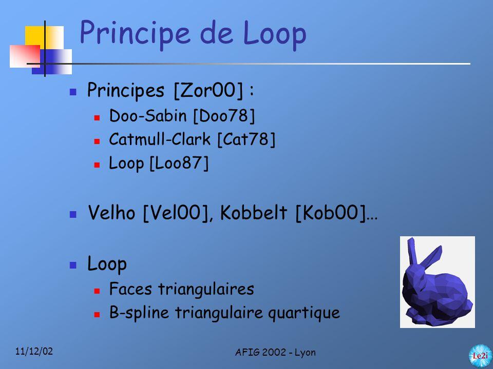 11/12/02 AFIG 2002 - Lyon Principe de Loop Principes [Zor00] : Doo-Sabin [Doo78] Catmull-Clark [Cat78] Loop [Loo87] Velho [Vel00], Kobbelt [Kob00]… Loop Faces triangulaires B-spline triangulaire quartique