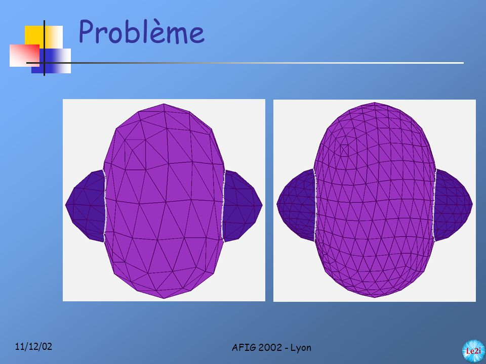 11/12/02 AFIG 2002 - Lyon Intersection Analytique Discrétisation Suivi Subdivision Linsen [Lin00] Bierman [Bie00] O'Brien [Obr00] Opérations booléennes Plusieurs courbes d'intersection Forte combinatoire