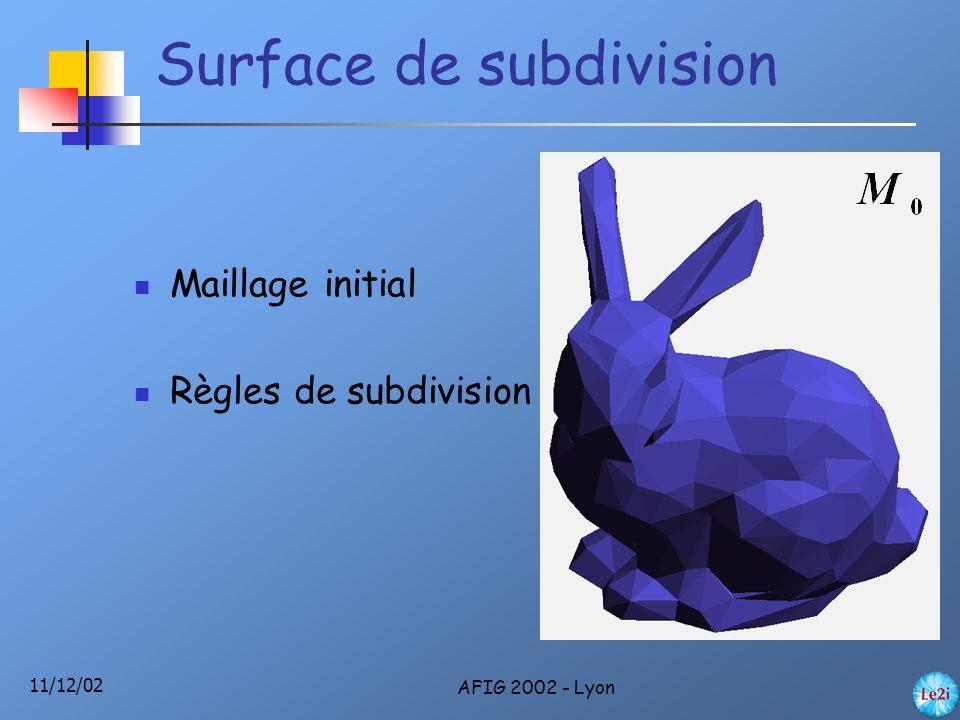 11/12/02 AFIG 2002 - Lyon Surface de subdivision Maillage initial Règles de subdivision