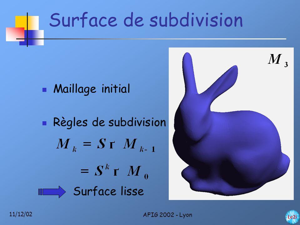 11/12/02 AFIG 2002 - Lyon Perspectives Réduire encore le nombre de tests Parcours Incorporer dans les opérations booléennes Estimer la courbe d'intersection au niveau k+1 à partir de la courbe au niveau k ?