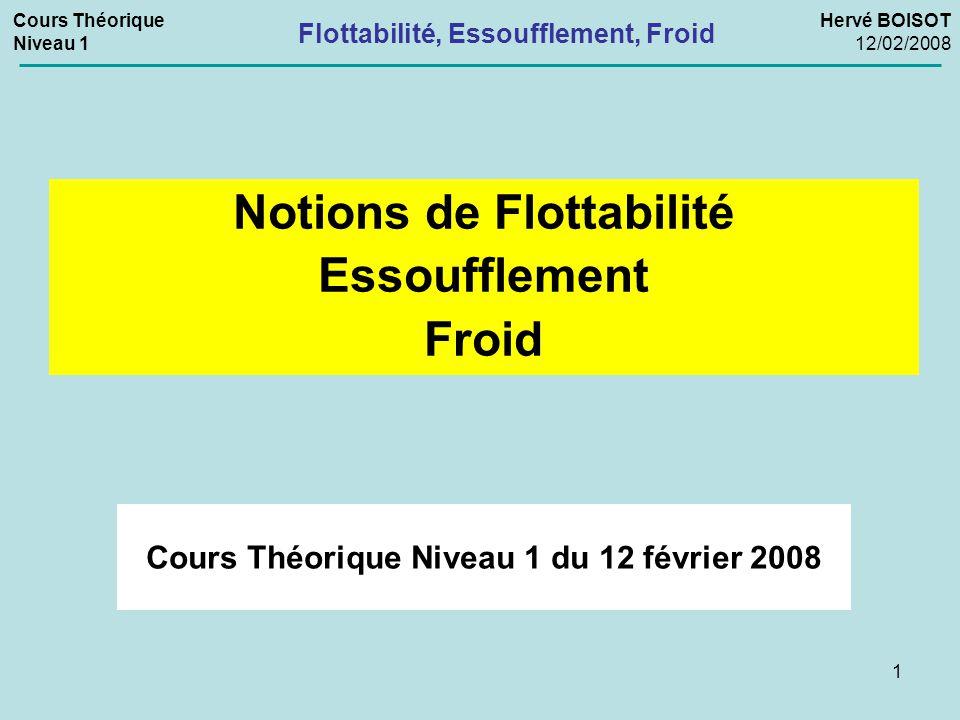 1 Cours Théorique Niveau 1 du 12 février 2008 Notions de Flottabilité Essoufflement Froid Cours Théorique Niveau 1 Hervé BOISOT 12/02/2008 Flottabilit