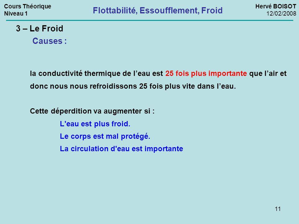 11 3 – Le Froid la conductivité thermique de l'eau est 25 fois plus importante que l'air et donc nous nous refroidissons 25 fois plus vite dans l'eau.