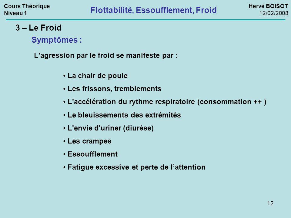 12 3 – Le Froid Symptômes : L'agression par le froid se manifeste par : La chair de poule Les frissons, tremblements L'accélération du rythme respirat