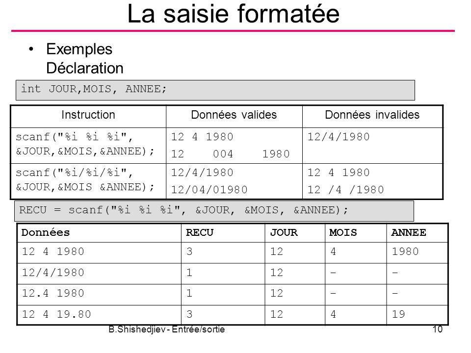 B.Shishedjiev - Entrée/sortie10 La saisie formatée Exemples Déclaration InstructionDonnées validesDonnées invalides scanf(