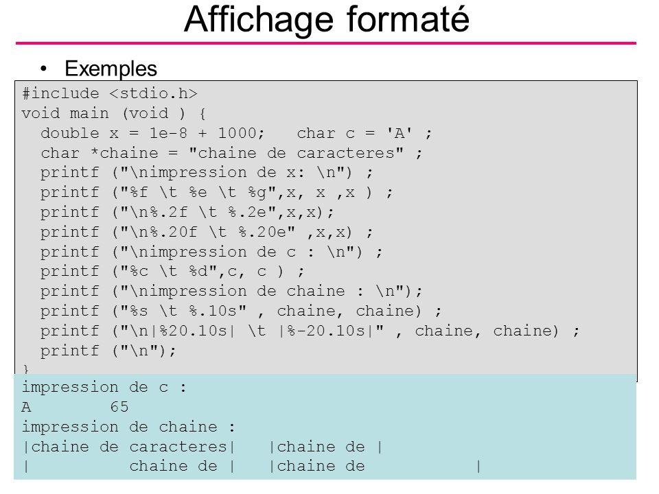 B.Shishedjiev - Entrée/sortie5 Affichage formaté Exemples #include void main (void ) { double x = 1e-8 + 1000; char c = 'A' ; char *chaine =