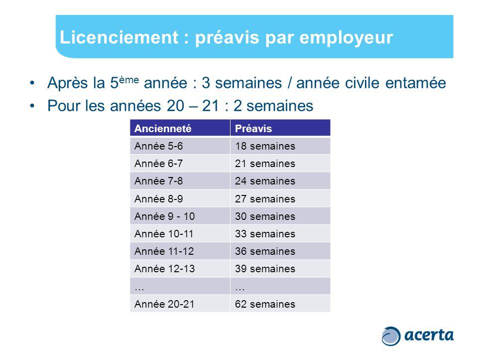 Licenciement : préavis par employeur Après la 5 ème année : 3 semaines / année civile entamée Pour les années 20 – 21 : 2 semaines AnciennetéPréavis A