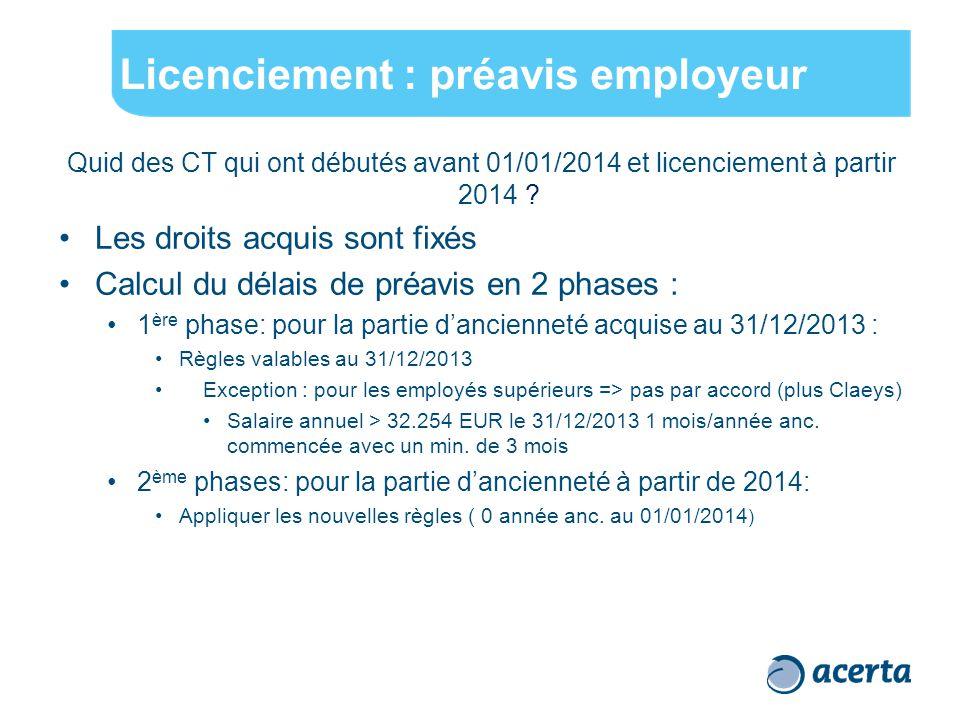 Licenciement : préavis employeur Quid des CT qui ont débutés avant 01/01/2014 et licenciement à partir 2014 ? Les droits acquis sont fixés Calcul du d
