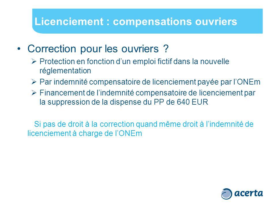 Licenciement : compensations ouvriers Correction pour les ouvriers .