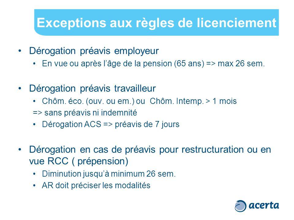 Exceptions aux règles de licenciement Dérogation préavis employeur En vue ou après l'âge de la pension (65 ans) => max 26 sem. Dérogation préavis trav