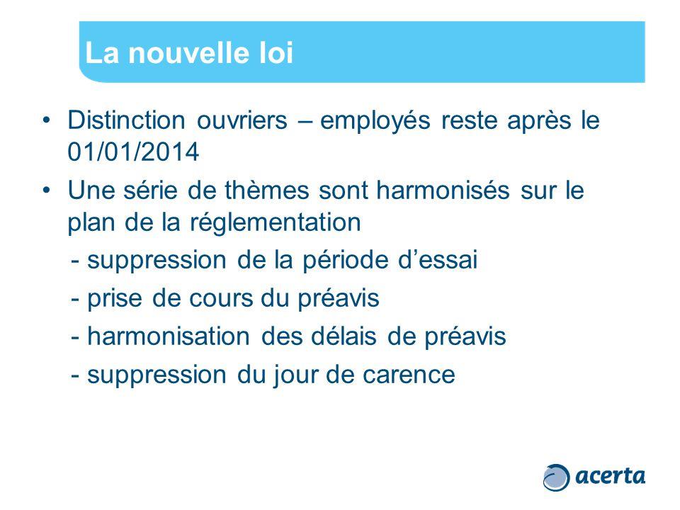 La nouvelle loi Distinction ouvriers – employés reste après le 01/01/2014 Une série de thèmes sont harmonisés sur le plan de la réglementation - suppr